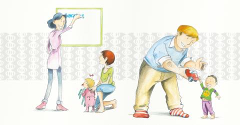 un papa joue avec son enfant et une maman discute avec une accueillante